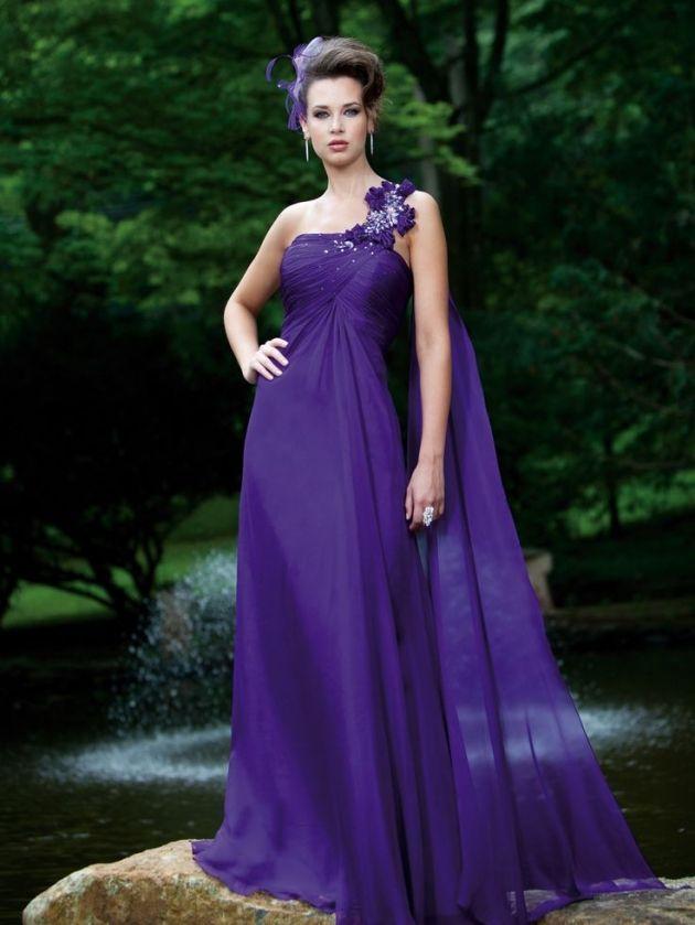 One shoulder A-line chiffon bridesmaid dress | Fashionista | Pinterest