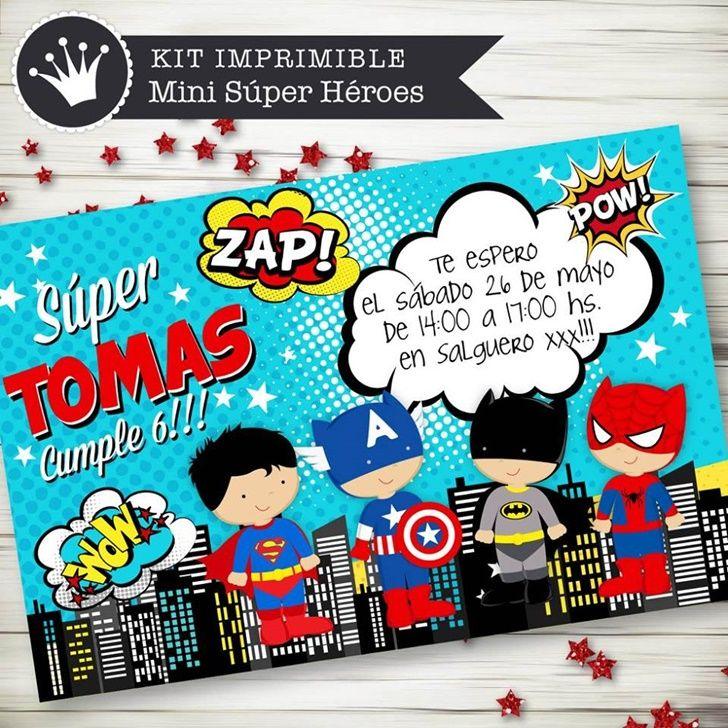 Kit Imprimible Invitacion Superheroe Invitaciones De