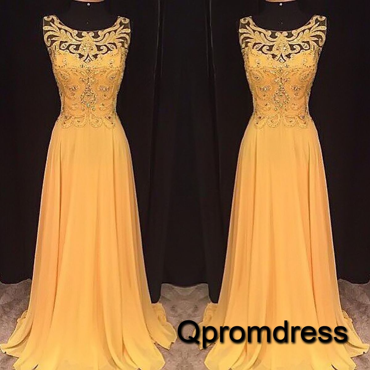Prom dresses long ball gown beautiful yellow lace chiffon modest