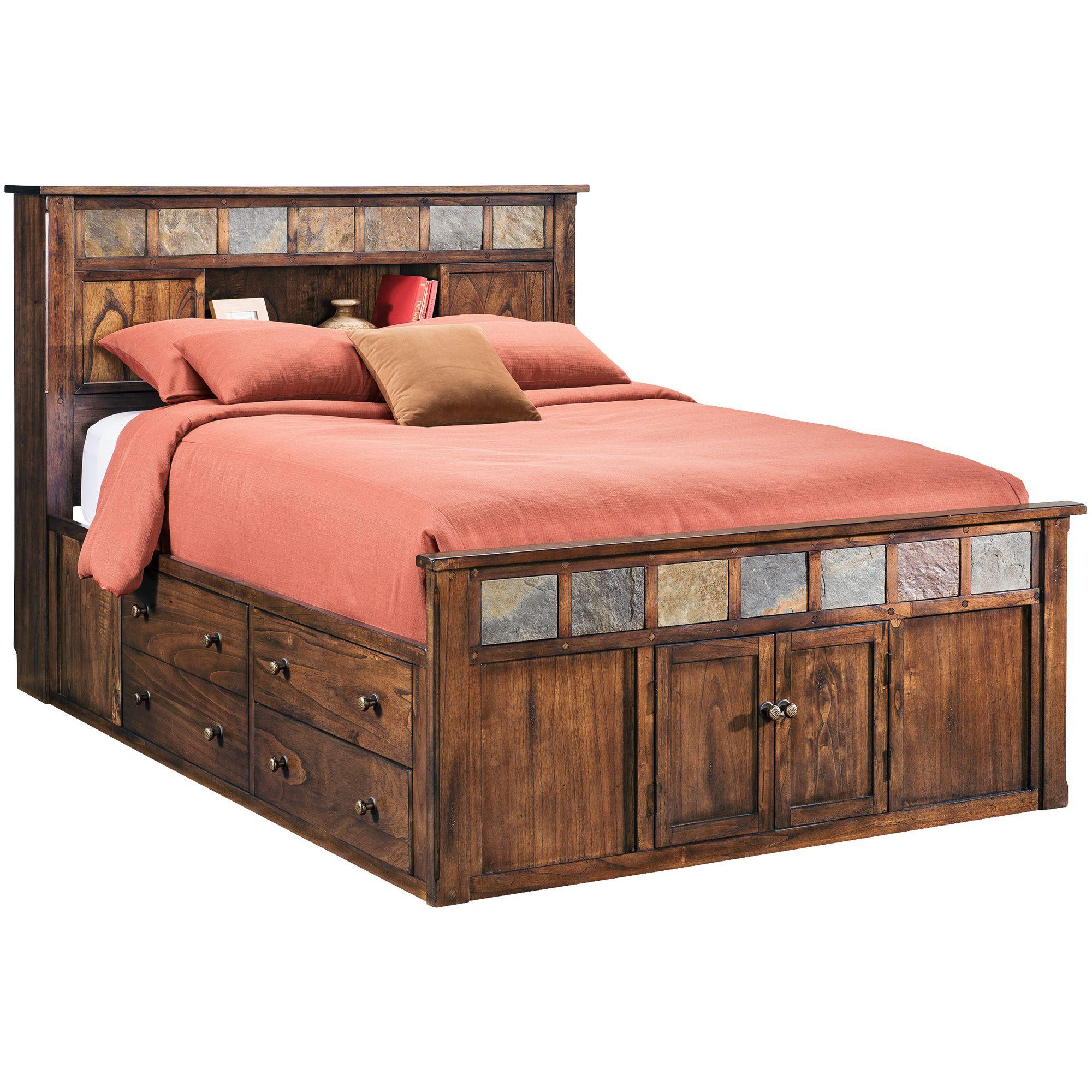 Sante Fe Choc Queen Bookcase Captains Bed Captains bed