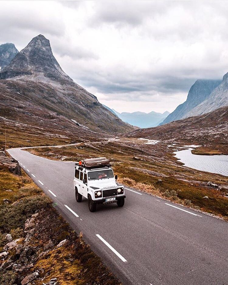 "upknorth: ""A Scandinavian side of fall. #getoutdoors #upknorth White Defender, autumn tones. Road trip through western Norway shot by @e.digernes (at Norway) """