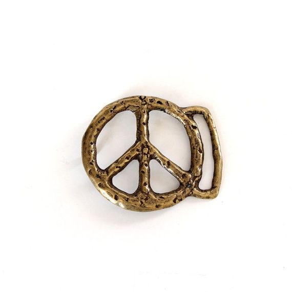 "3/"" Metallic Gold Hippy Peace Sign Symbol Cutout patch"