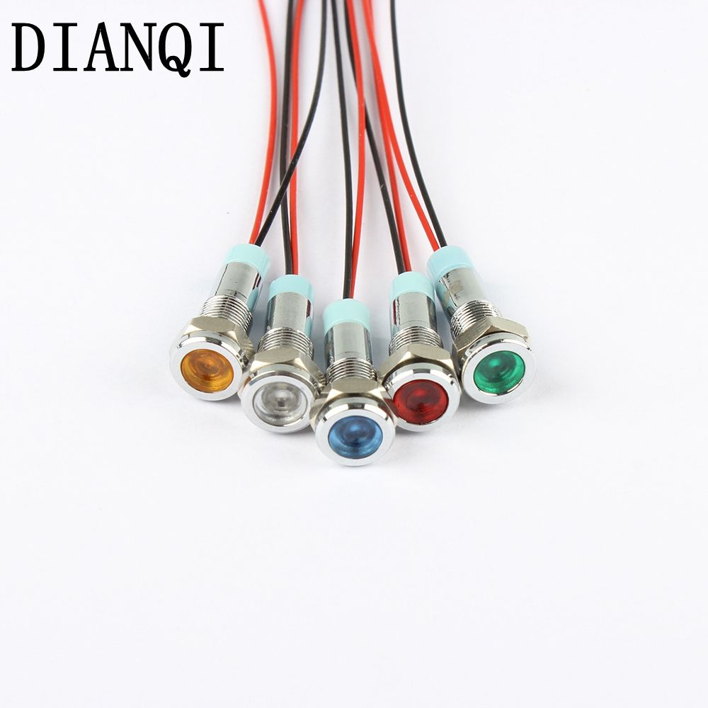 Led Metal Indicator Light 6mm Waterproof Signal Lamp 6v 12v 24v 220v With Wire Red Yellow Blue Green White 6mmxhd X Aff Lead Metal Indicator Lights Blue Green