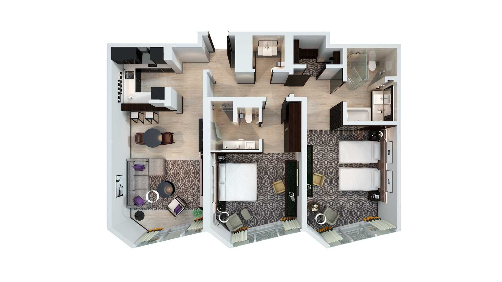 1 2 and 3 bedroom hotel apartments sheraton grand hotel for Nearest hotel to dubai design district