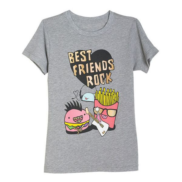 Best Friends Rock Tee ($9.99) ❤ liked on Polyvore featuring tops, t-shirts, shirts, tees, graphic tees, shirt tops, graphic design t shirts, rock shirts, graphic print t shirts and rock tops