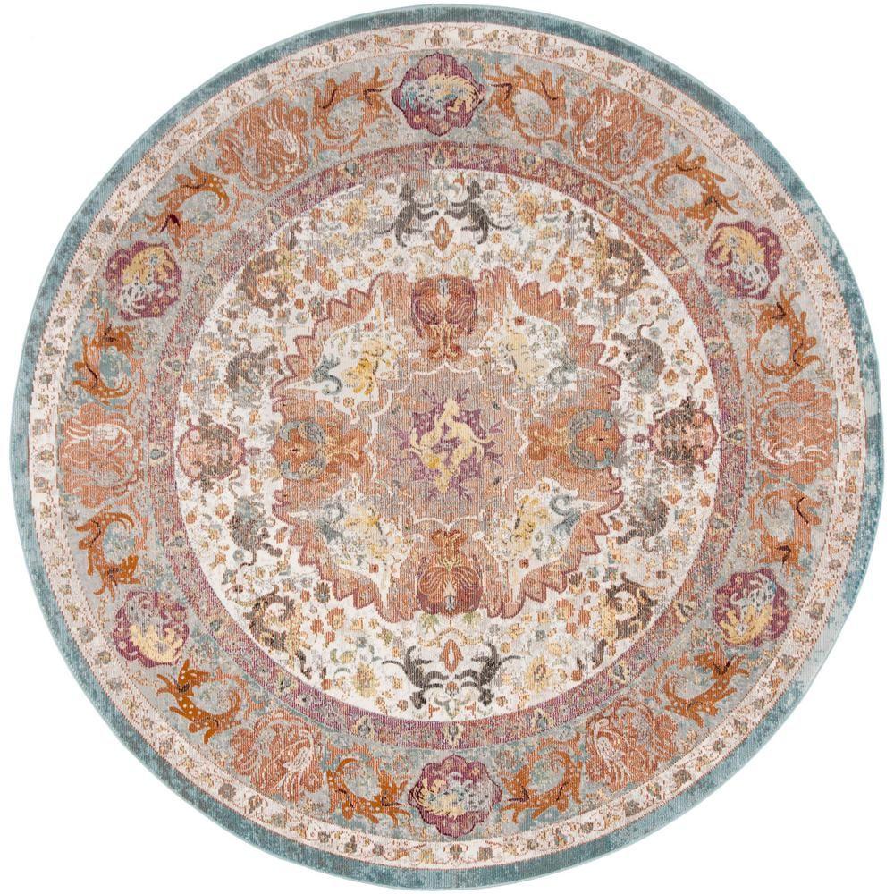Safavieh Aria Beige Orange 6 Ft X 6 Ft Round Area Rug Ara120e 6r