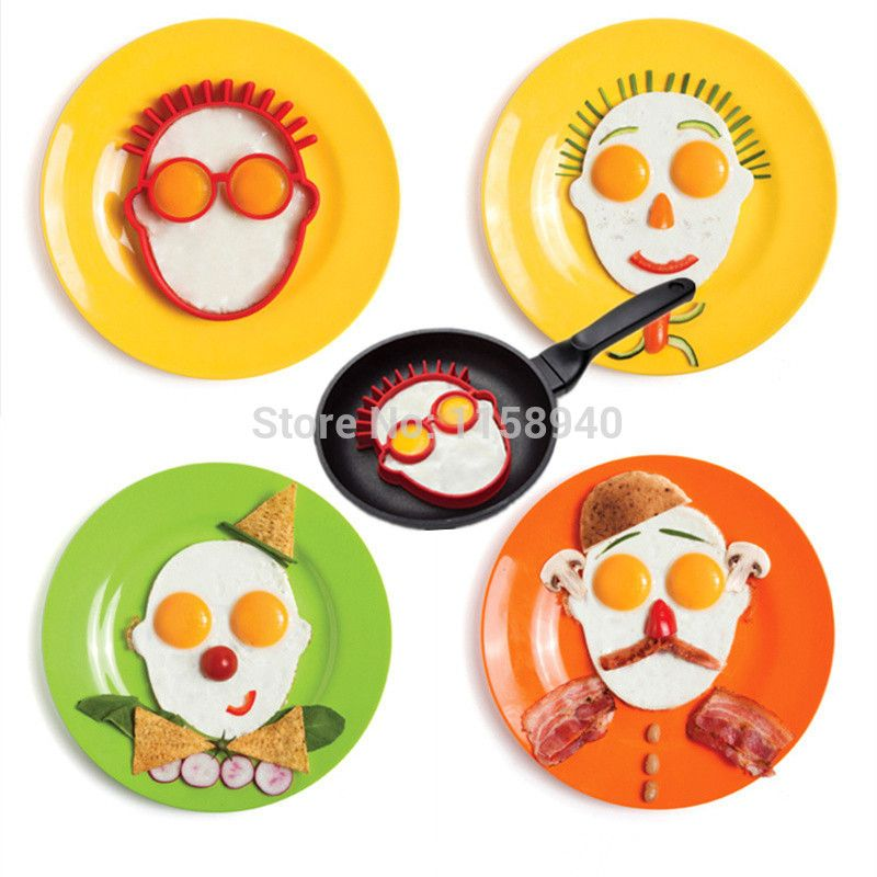 1 Pcs Head Shaped Silicone Omelet Creative Clown Head Silicone Egg Ring  Cooking Eggs Cooking Molds
