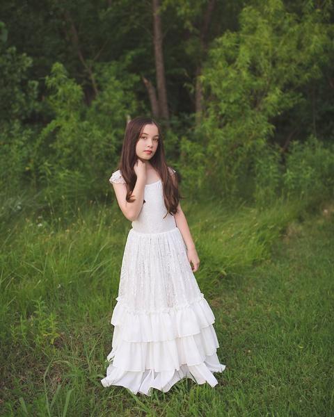 4b3e63f362 tween boho lace maxi dress rustic beach flower girl white dress