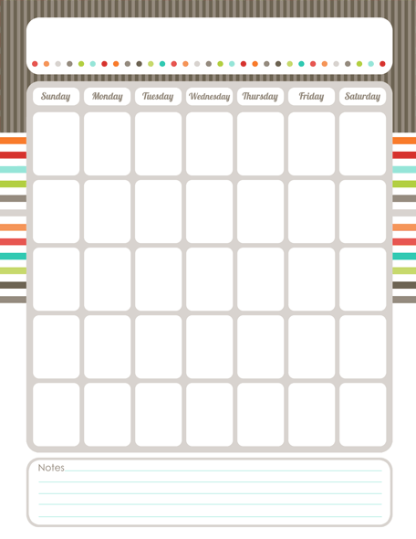 Free  Cute Printable Monthly Calendar  Get Organized