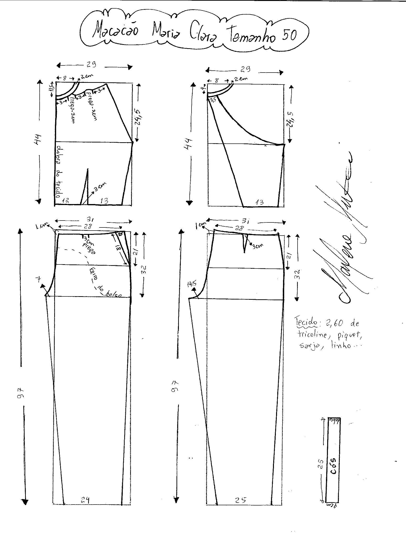 Macacão Maria Clara | patrones | Pinterest | Sewing patterns, Sewing ...