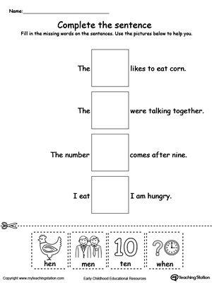 En Word Family Complete The Sentence En Word Family Word Families Word Family Worksheets In word family worksheets for