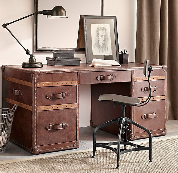 RH's Mayfair Steamer Trunk Desk - Vintage Cigar:Our reproduction antique steamer  trunks call to mind the luggage once used by rail or ocean voyagers.