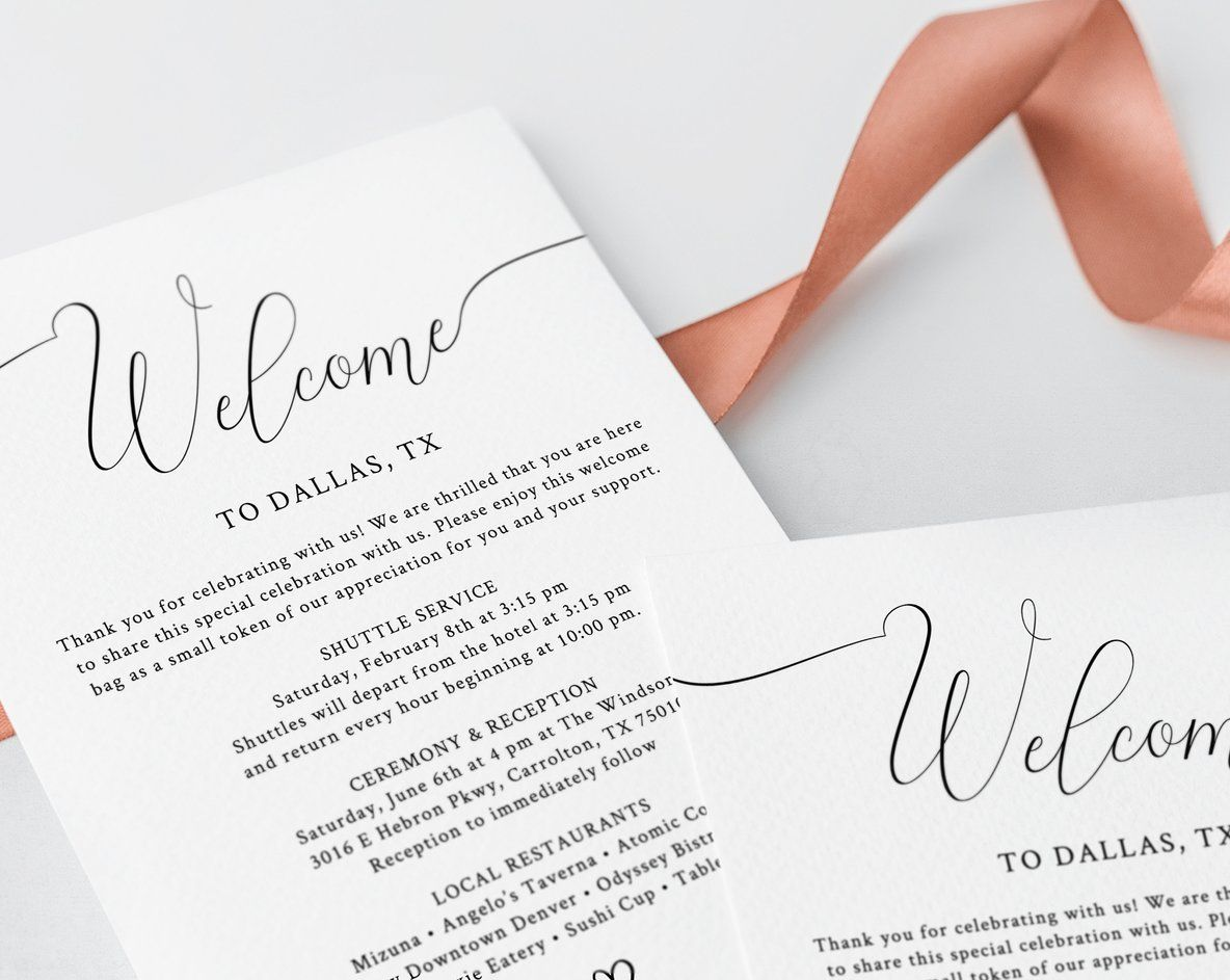 Welcome Letter Template Wedding Itinerary Card Welcome Bag