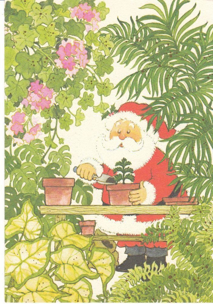 Vintage Christmas Card Santa Claus Gardening Greenhouse Arlene Noel ...