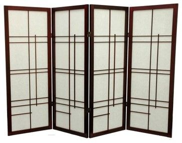 Oriental Furniture Low Eudes Shoji Screen Room Divider 48 Inch
