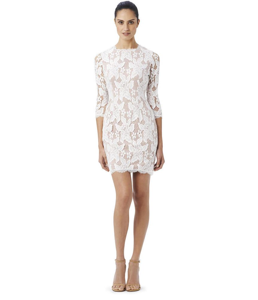 502ee8b6583 Adrianna Papell NEW White Women s Size 4 Floral-Lace Sheath Cocktail Dress   150  AdriannaPapell  Sheath  Cocktail