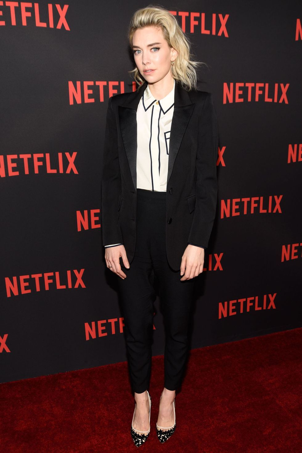 Best Dressed Women Of The Week.  Vanessa Kirby - power dressing in this incredible Racil suit for a Netflix event celebrating The Crown in LA.