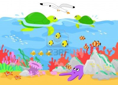 coral reef two turtles fishes and marine creature underwater art