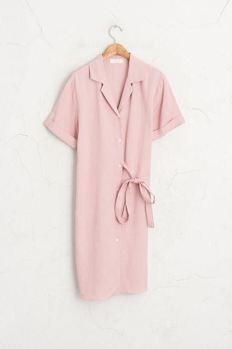 Ribbon Belted Shirt Dress, Pink