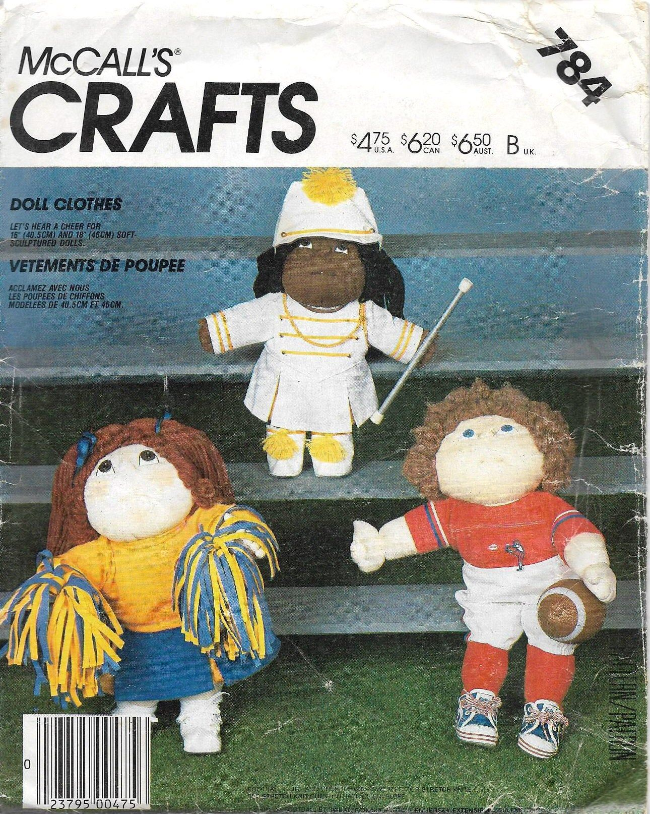 Uncut, 16-18 Inch Doll Clothes, Vintage Sewing Pattern, Mccalls Craft 784, fits Stuffed Soft Sculptured, Football, Cheerleader, Band Leader