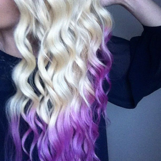 purple blonde dip dye hair