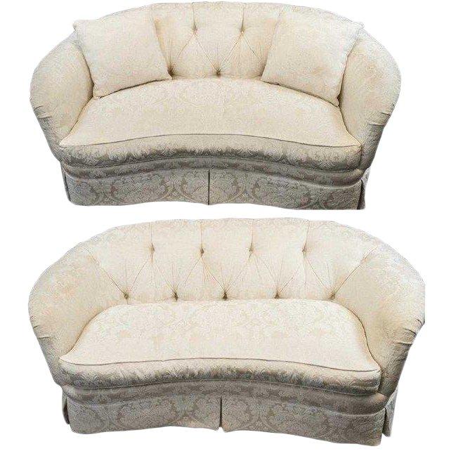 Terrific Pair White Brocade Tufted Loveseats Sofas Sherrill Furniture Theyellowbook Wood Chair Design Ideas Theyellowbookinfo