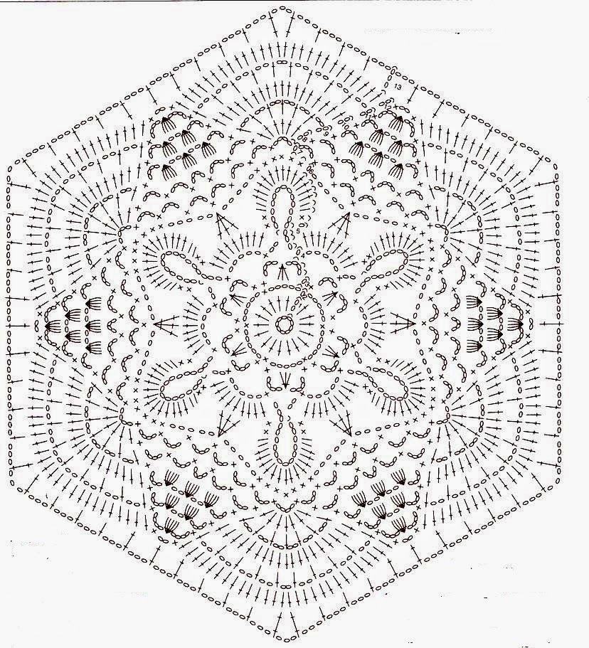 Hexágono Lindo De Crochê | Crochet Motifs & Flowers | Pinterest ...