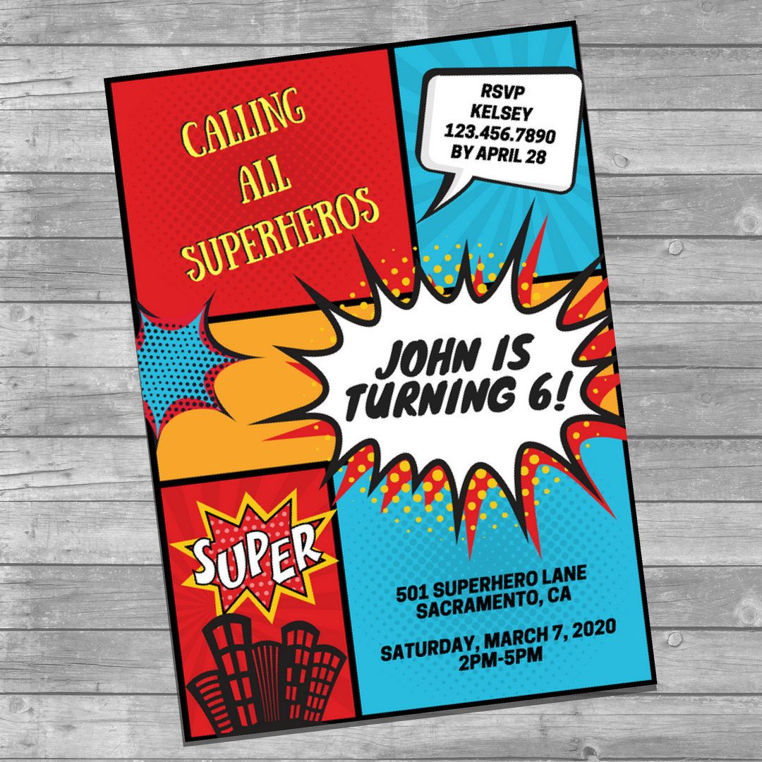 Superhero comic book birthday party invitation! Fully customizable ...