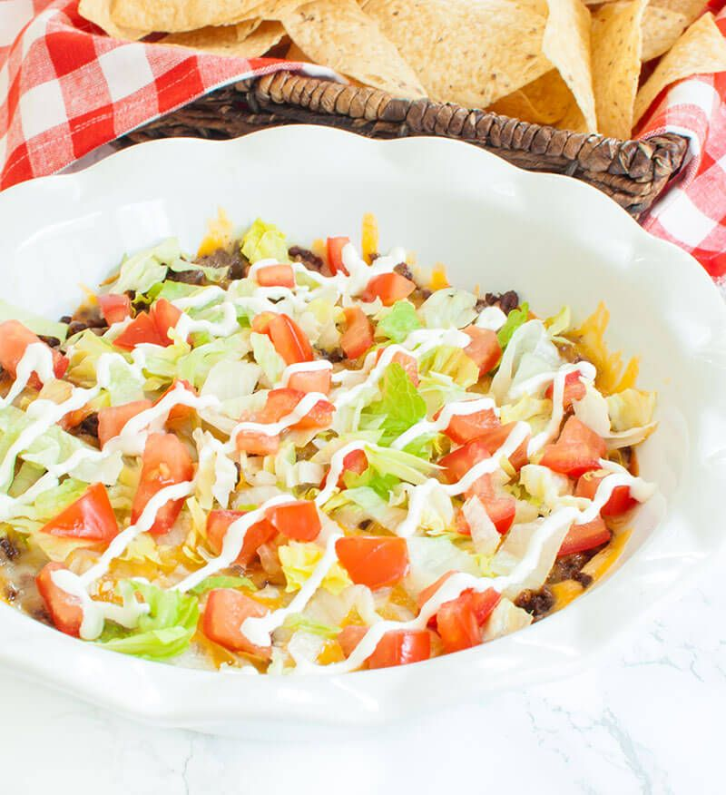Easy Appetizer Idea Taco Dip Made With Ground Beef And Cream Cheese It S Like A Taco Pizza Dip This Warm C Cream Cheese Taco Dip Taco Dip Taco Dip With Meat
