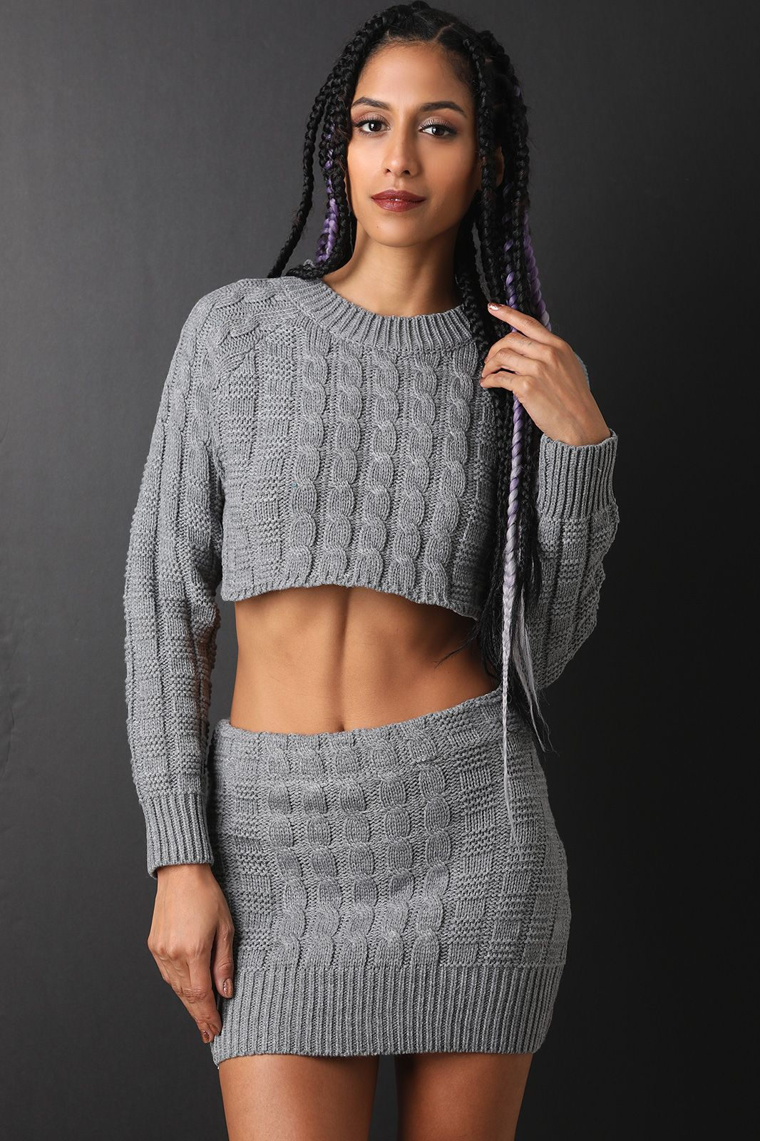 fda7dd1faeb Two-Piece Square Cable Knit Crop Sweater with Mini Skirt Set