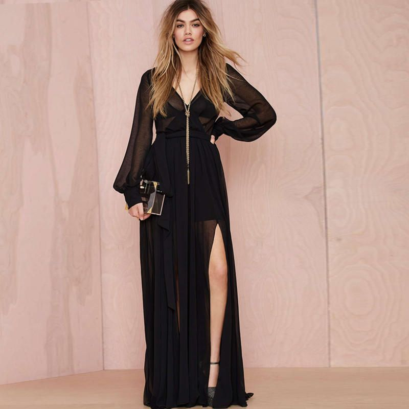 Black Deep V Bishop Sleeve Chiffon Maxi Dress with Slit from KODY. Saved to dresses .