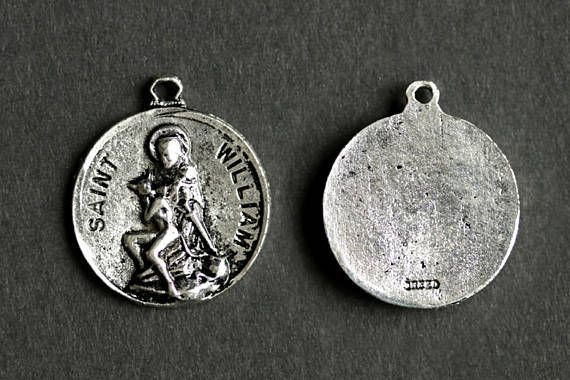 7025f2c241a Saint William Necklace. Catholic Saint Necklace. St William Medal Necklace. Patron  Saint of Adopted