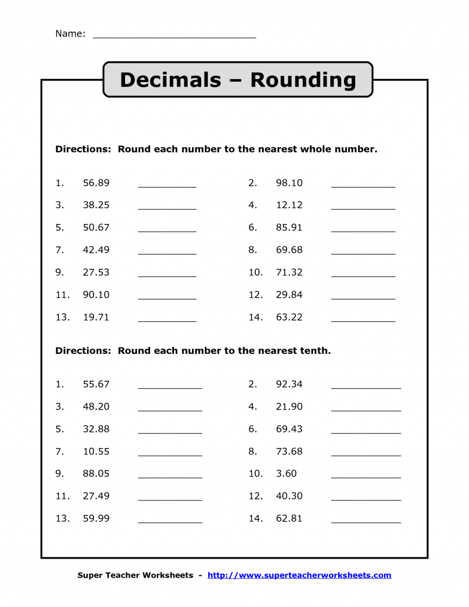 Free Rounding Number Worksheets Pictures Math Free