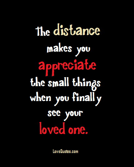 I Appreciate You Quotes For Loved Ones Amazing The Distance Makes You Appreciate The Small Things When You