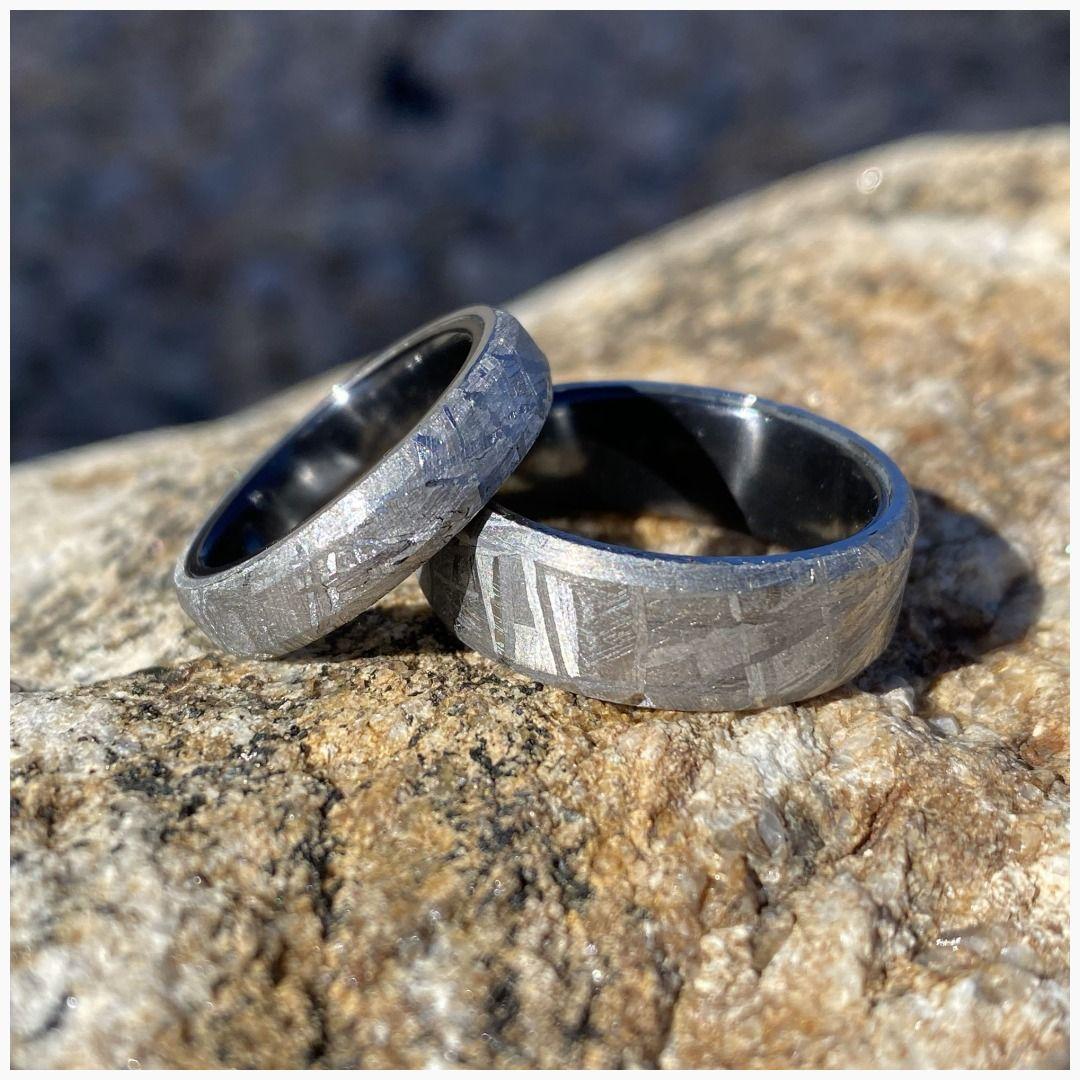 Wedding Ring Set Meteorite Ring, USA Made Custom Artisan