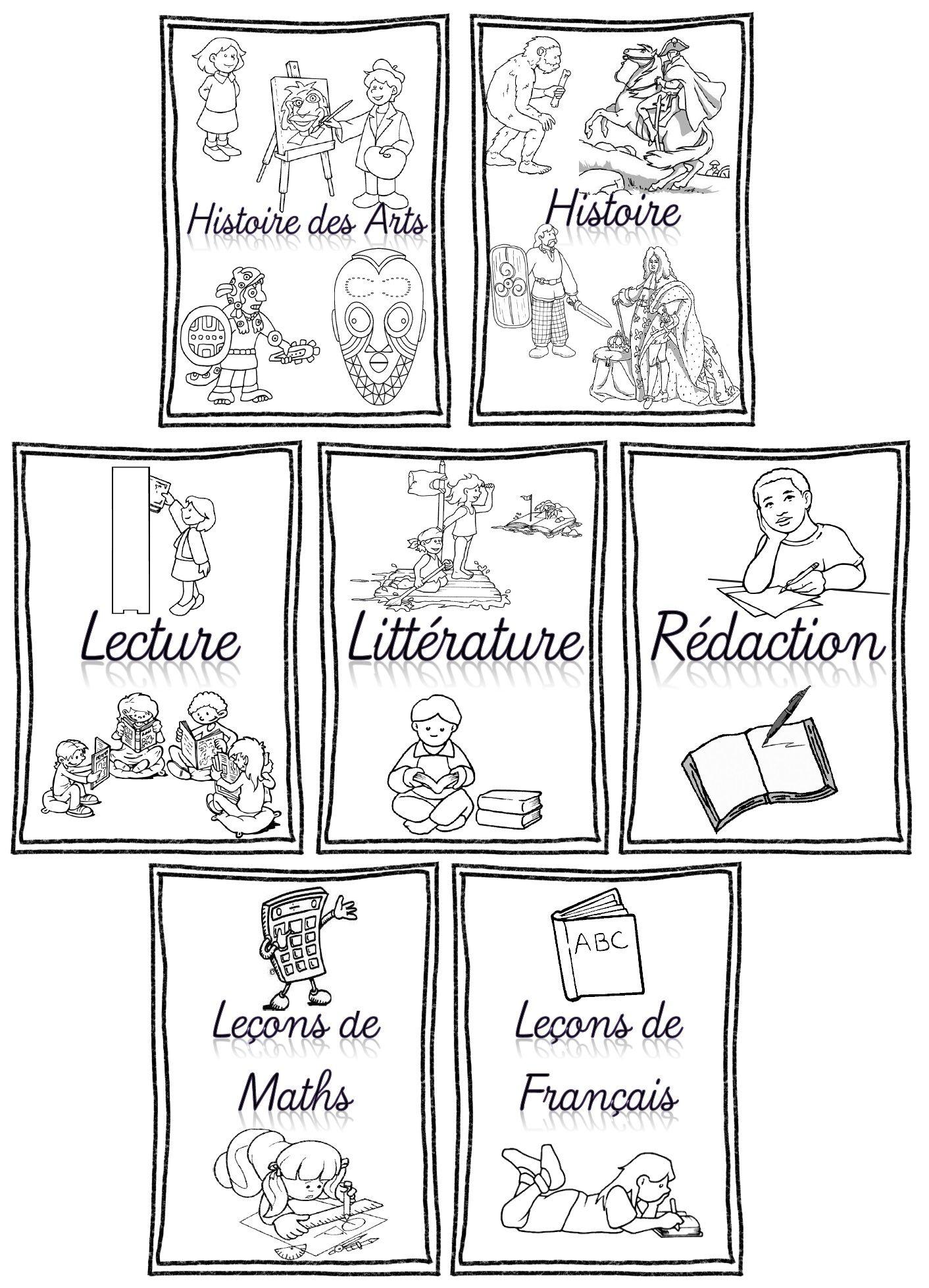 Rentr e pages de garde pour cahiers porte vues et classeurs cycles 2 et 3 cycling and school - Conjugaison colorier ...