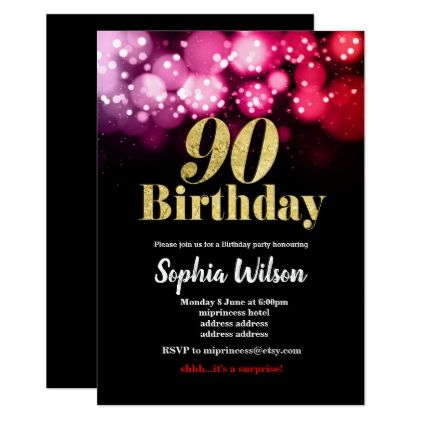 90th Birthday Invitation Elegant Glitter Pink Red