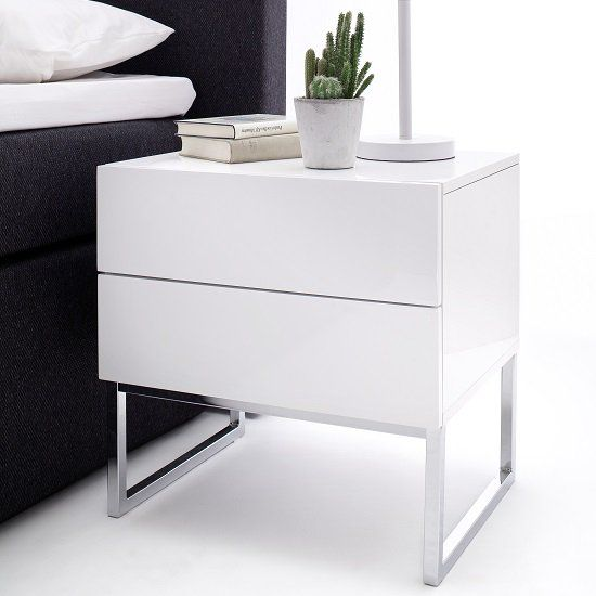 Strada Bedside Cabinet In White High Gloss With 2 Drawers White Furniture Bedroom Modern Modern Bedroom Furniture White Bedside Table