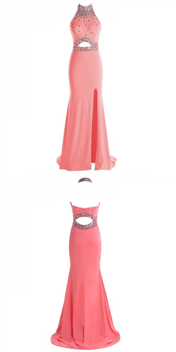 coral high neck prom dresses, cut out long party dresses, backless ...