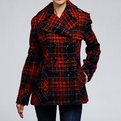 Nicole Miller Women's Plaid Pea Coat | style | Pinterest | Nicole ...