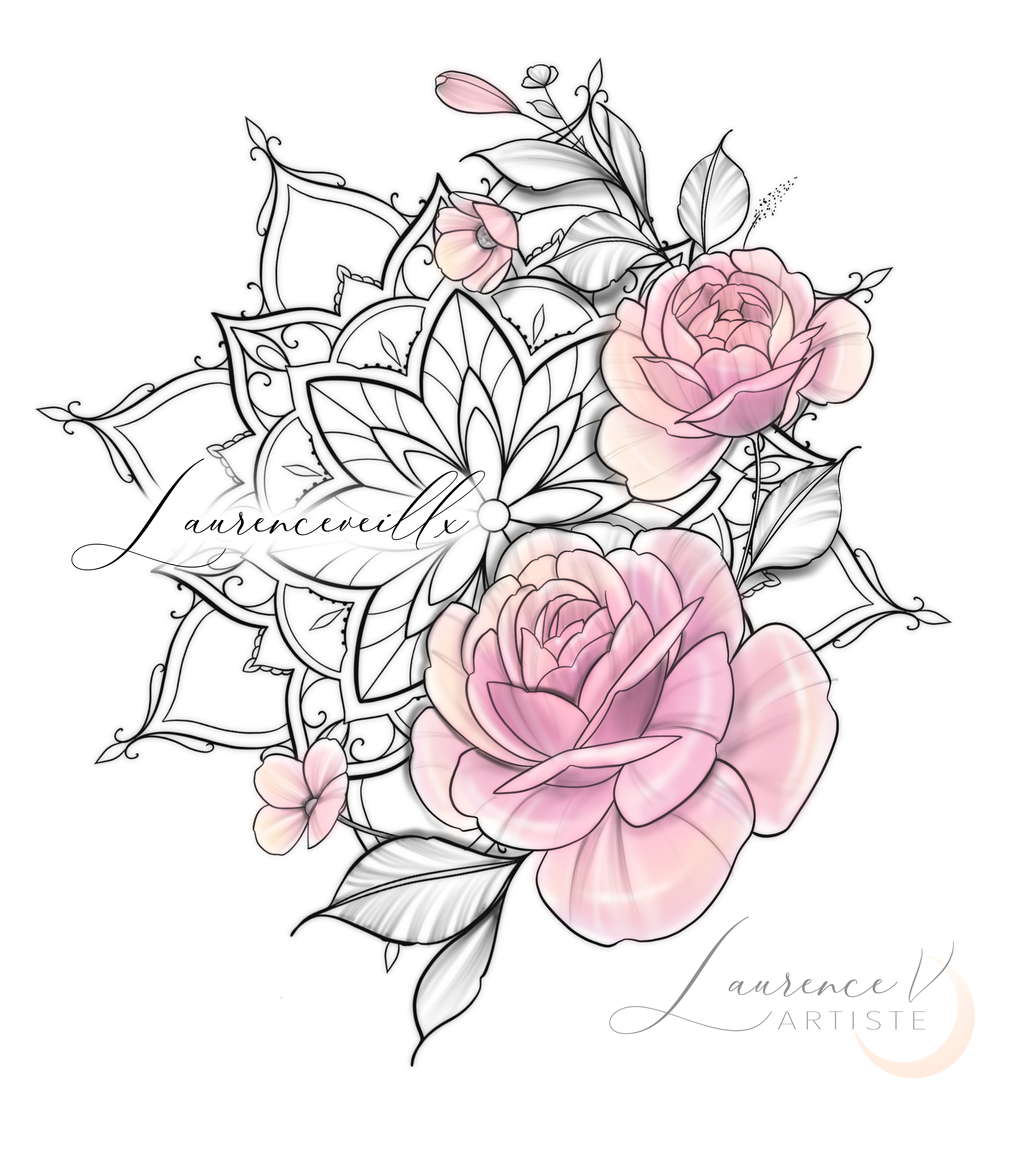 Photo of PEONIES PINK FLOWERS MANDALA TATTOO DESIGN – INSTANT DOWNLOAD