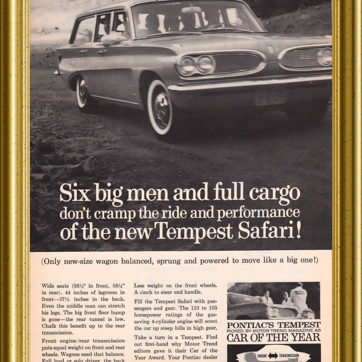 1961 Pontiac Tempest Safari Wagon 6 Big Men Vintage Ad From West Coast Vintage For 10 00 On Square Market Pontiac Tempest Vintage Ads Pontiac