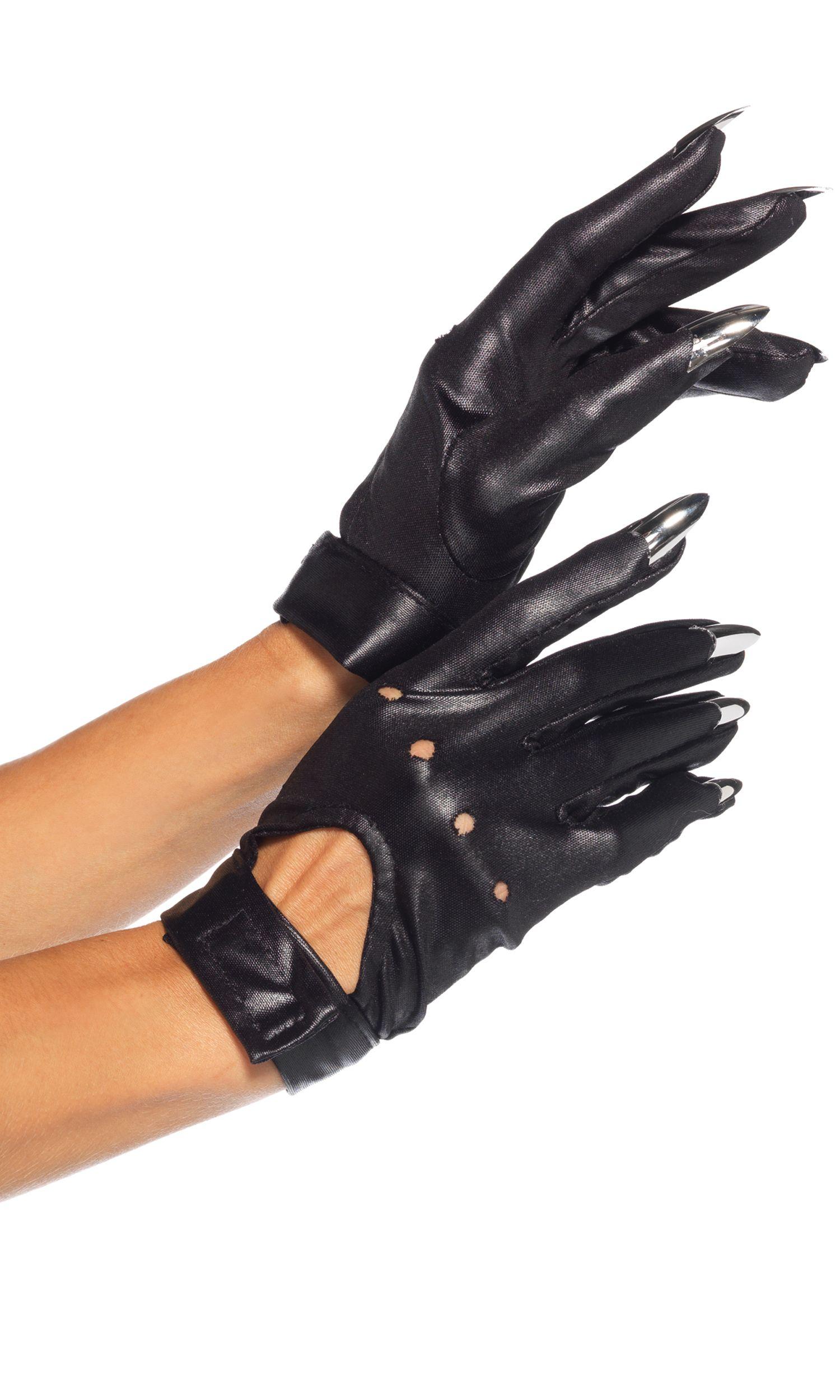 Wet Look Opera Length Zipper Gloves Fancy Dress Up Leg Avenue