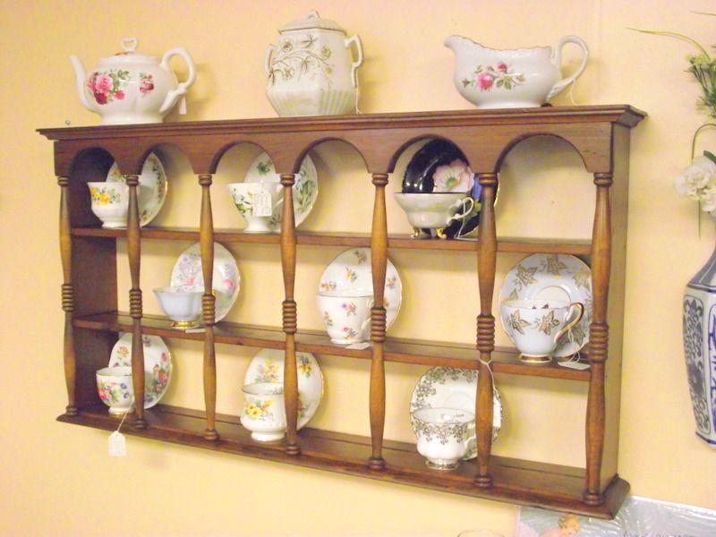 Wood 3 Tier Display Teacup Saucer Curio Wall Shelf Cups Saucers