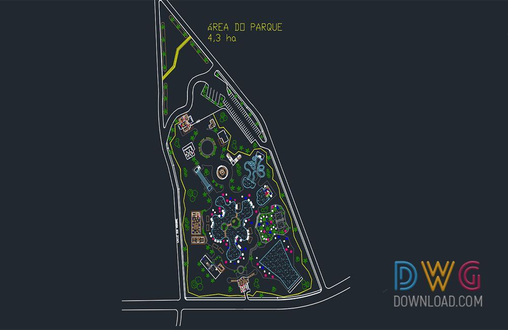 dwg download water park dwg free dwg (With images) Water