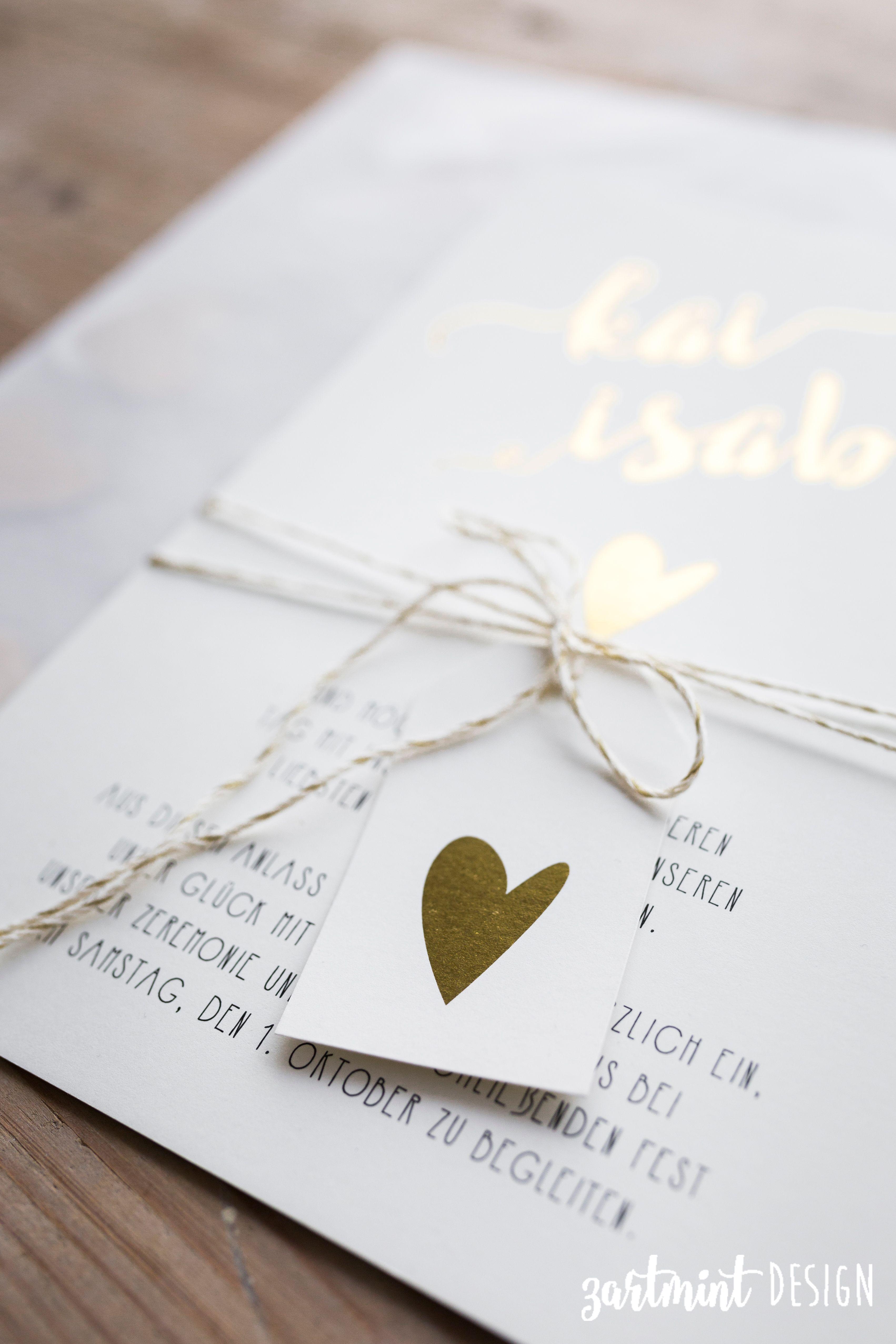 Hochzeitspapeterie | Hochzeitseinladung Herz Aus Gold ♥ Heißfolie,  Goldprägung, Goldfolie, Vintage, Hippie, Boho, Zartmint Design, Bonn, Köln,  NRW, ...