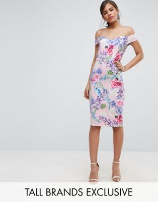 e3e71c8631cc Paper Dolls Tall Floral Printed Bardot Pencil Dress | Future Plans ...