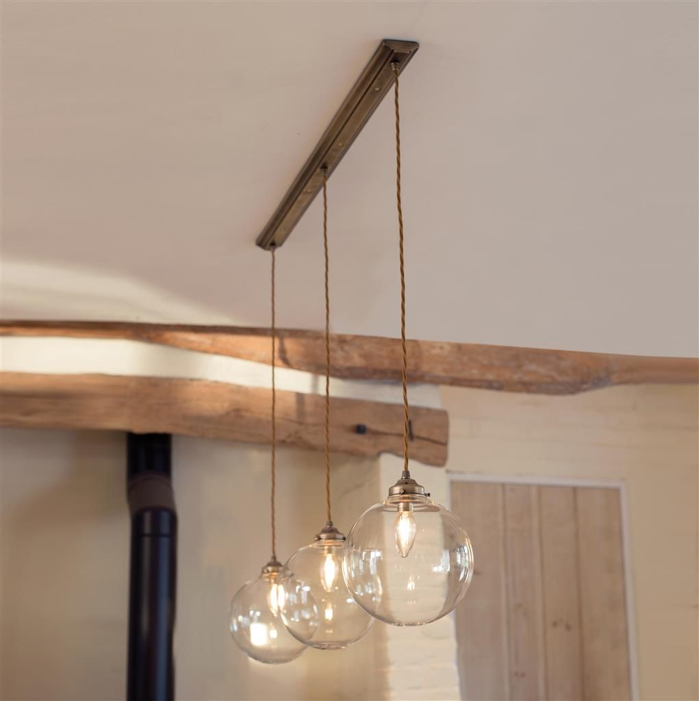 Holborn Triple Pendant Track In Antiqued Brass Modern Track