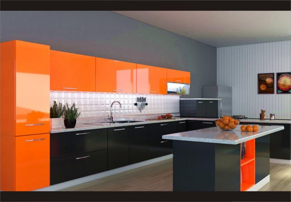 Gambar Dapur Minimalis Dengan Perpaduan Warna Orange Dan Abu Sangat Cantik Indah