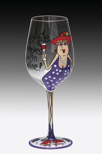Age Improves With Wine Handpainted Wine Glass Complete With Tube Zebra Printed Box Hand Painted Wine Glasses Decorated Wine Glasses Painted Wine Glass